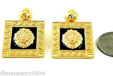 LION Head Square GOLDtone/Blac Earrings-Celebrity Inspired-Pierced-Hang 1 1/2""