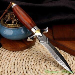 Damascus Steel Camping Tactical Hunting Knife Short Sword Dagger Sharp #3363