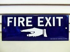 Vintage Fire Exit Sign Pointing Finger Hand Embossed Tin Original Made in USA