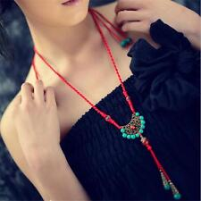 New Tibetan Beautiful Vintage Silver Turquoise Pendant Necklace Ethnic Style T4