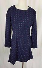 NWT Xian Dong Polka Dotted Woven Brocade Dress Womens S Korea Fit & Flare Navy