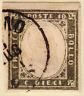 SARDEGNA 1861 10C OLIVA GRIGIO SCURISSIMO(14Cb) USATO CERTIFICATO RAYBAUDI LUSSO