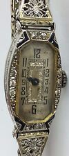 Vintage Swiss BULOVA 14k Gold, Platinum 1237 & Diamond 15 Jewels Art Deco Watch