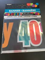 Happy 40TH Birthday Banner 12 Ft. Foil Banner Party Decoration