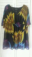 Lane Bryant size 14/16, 1X tunic or short dress, black color accent, sheer lined