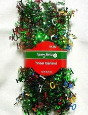 Multi Color Hohoho Mini wire Tinsel Garland Merry Brite 12ft
