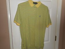 Polo Ralph Lauren Mens Striped Polo Casual Shirt Size Medium M Yellow Green Blue
