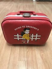 Vintage Going To Grandmas House Suitcase Red Hardside Child Girl Travel Luggage