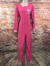 Nick & Nora Size Medium PJ'S Pajama Soft Fleece One Piece Footed Owl Pink Warm