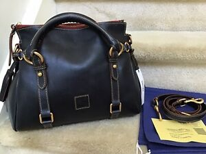 Dooney & Bourke Florentine Leather Small Satchel in NAVY (Made in America)