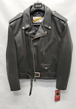SCHOTT NYC 118 Classic Perfecto Black Leather Motorcycle Jacket Size 48