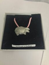 Hedgehog PP-A25 Pewter Pendant on a PINK CORD Necklace