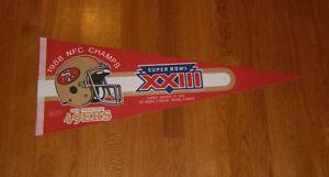 1988 San Francisco 49ers NFC Champs Super Bowl XXIII pennant Jerry Rice Montana