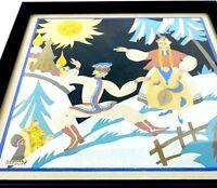 "1930's French Art Pochoir Signed Edouard Halouze Russia Poland Dancer 9"" Framed"