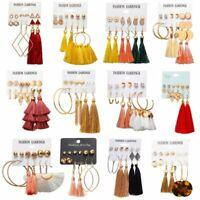 5/6Pairs Women Boho Tassel Crystal Pearl Earrings Set Stud Hook Dangle Gift Hot