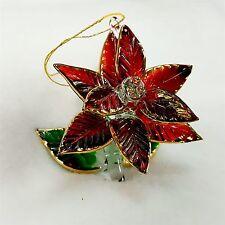 "Colored Glass Christmas Ornament 2.5"" Figurine Rose Flower w/ Green Leaf Base"