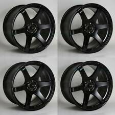 18x9.5 Enkei T6S 5x120 35 Black Paint Wheels Rims Set(4)