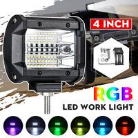 72W RGB LED Work Light Bar Flood Spot Lights Driving Lamp Offroad Car Truck
