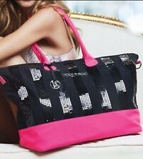 Victoria's Secret Black/Pink Sequin Weekend Getaway Duffle/Tote Bag