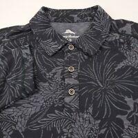 Tommy Bahama Long Sleeve Hawaiian Polo Shirt Mens Size Large Floral Coal Gray
