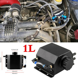 Black Aluminum Radiator Coolant Overflow Bottle Recovery Water Tank Reservoir 1L