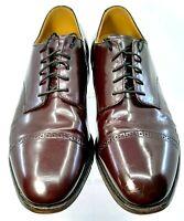 Johnston Murphy Oxford Mens 10.5 D/B Burgundy Leather Cap Toe Lace Up Dress Shoe