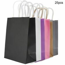 Paper Storage Gift Bags 25pcs Kraft Packaging Handle For Wedding Candy Favor Bag