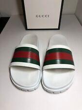 Gucci Pursuit Trek Slides Men Sandals Flip Flops White Size 9G - 10 U.S.