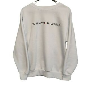 Tommy Hilfiger Womens White Long Sleeve Jumper Sweater Logo Size S