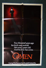 THE OMEN 1976 ORIGINAL ADVANCE TEASER STYLE B 1 SHEET MOVIE POSTER GREGORY PECK