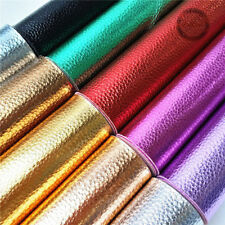 Metallic Leather Lychee Pastel Faux Leatherette Fabric Vinyl Foil Decor Craft
