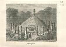 Funérailles gauloises moeurs coutume des gaulois en Gaule druides GRAVURE 1883