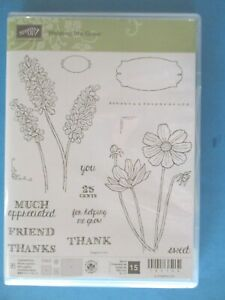 Stampin' Up HELPING ME GROW Acrylic Rubber Stamp Set 15 pc FLOWERS Words