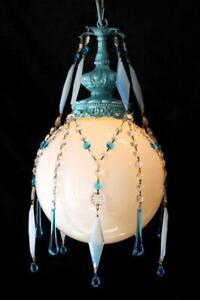"Vintage "" Crystal Harlequin"" Pendant Chandelier, 12""x 17"" White Milk Glass Globe"