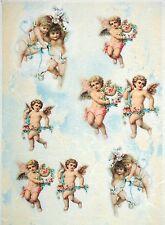 Carta di riso per Decoupage Decopatch Scrapbook Craft sheet VINTAGE Angels & Fiore
