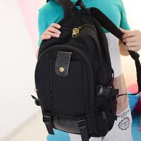 UK Women Mens Canvas Backpack Outdoor Travel School Rucksack Satchel Laptop Bag