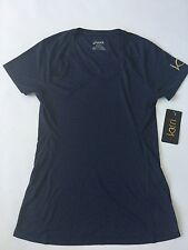 $38 Asics Women's Kerri Collection Solid Short Sleeve In Navy Size M