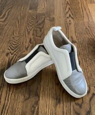 "VINCE Leather ""Caden"" Slip-on Sneakers. White/gray/black. 8.5 M"