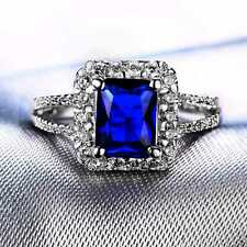 QCNL123 Handmade 2.50CT Natural Sapphire 14K White Gold Ring Size US 7