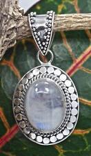 Handmade Sterling Silver .925 Bali Dot Style Oval Pendant w Large Moonstone Gem.
