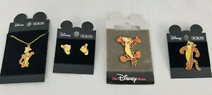 DISNEY DESIGNS Vintage Jewelry Set Lot TIGGER Necklace Earrings Pins Gold Tone