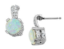 Created Opal Earrings with CZ in Sterling Silver