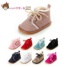 Toddler Baby Shoes Infant Girl Boy Suede Leather Winter Warm Lace Up Boots
