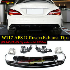 W117 Rear Bumper Diffuser Lip Black and Exhaust 2016-18 for Mercedes Benz CLA180