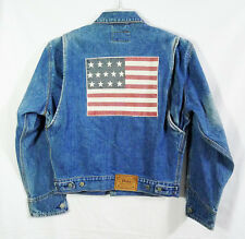 Vintage Polo Country Ralph Lauren Custom Flag Denim Jean Jacket size Small
