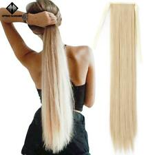 Extra long 32inch Tie On Clip In Black Silky Straight Hair Ponytail Hairpieces