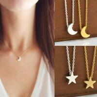 Trendy Silver Gold Chain Crescent Moon Star Pendant Charming Necklace Jewelry~