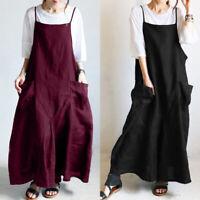 ZANZEA Women Strappy Loose Long Maxi Sundress Kaftan Flare Plus Size CaDress