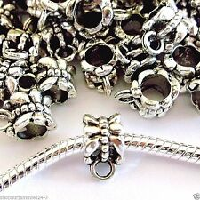 50 pc Lot EUROPEAN CHARM  DANGLE OR PENDANT BAIL Antique Silver J09