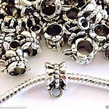 50 pc Lot EUROPEAN CHARM  DANGLE OR PENDANT BAIL Antique Silver J09